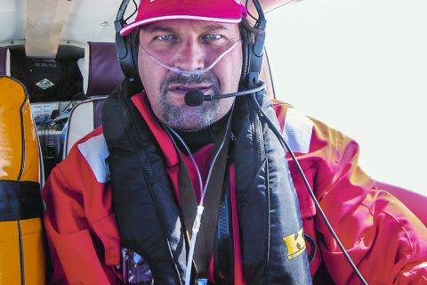 Christof Brenner über dem Atlantik