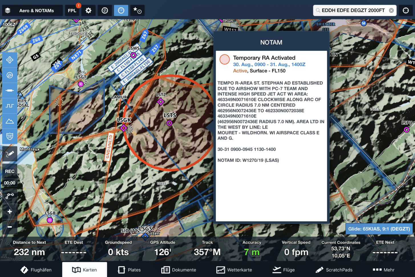 Restricted Area in der Moving Map von ForeFlight