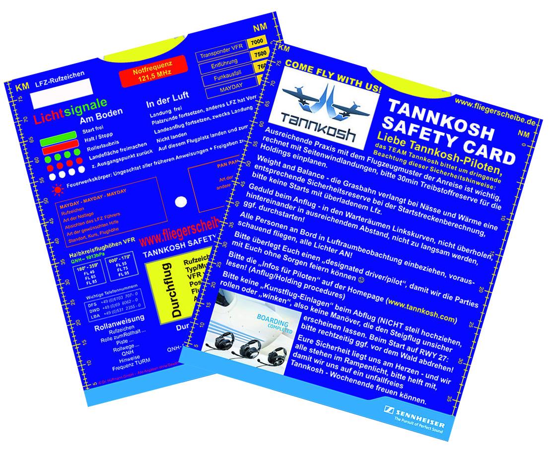 Alles im Blick: Tannkosh 2013 Safety Card