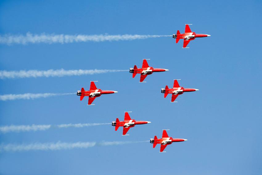Vorbildlich: Die Patrouille Suisse zählt zu den besten militärischen Kunstflugstaffeln der Welt