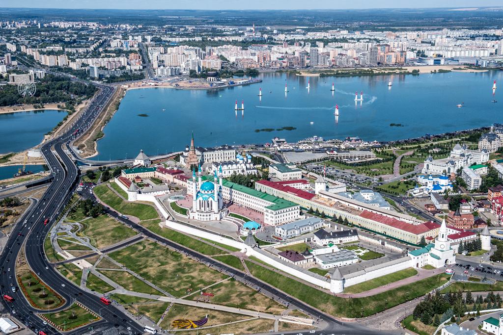 Überblick auf die Red Bull Air Race Strecke in Kazan 2018