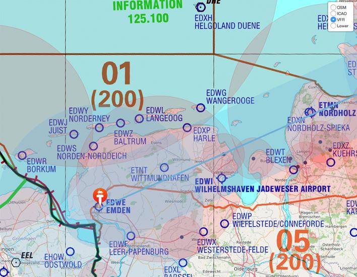 Obacht: NOTAM checken beim Flug an der Nordseeküste vor Wittmund! (Karte nicht zur Navigation geeignet)