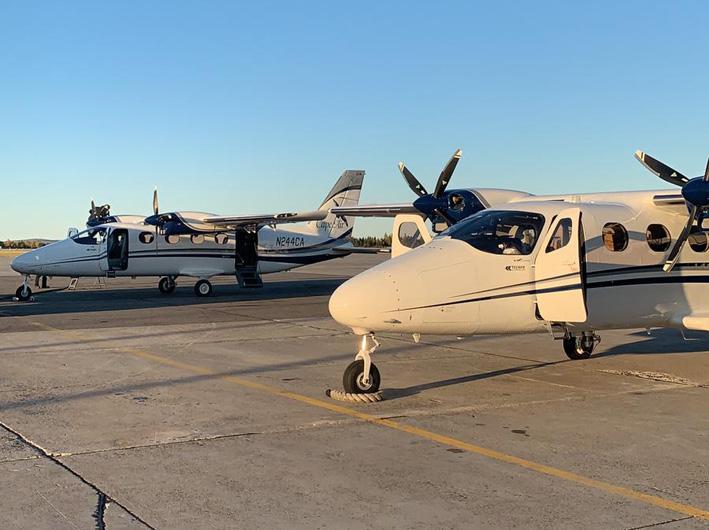 Angekommen: die ersten zwei von 100 P2012 Traveller von Tecnam bei Cape Air in Massachusetts, USA