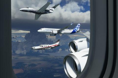 Piloten testen den Microsoft Flight Simulator im Live-Video