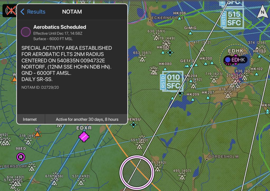 Garmin Pilot NOTAM Detials