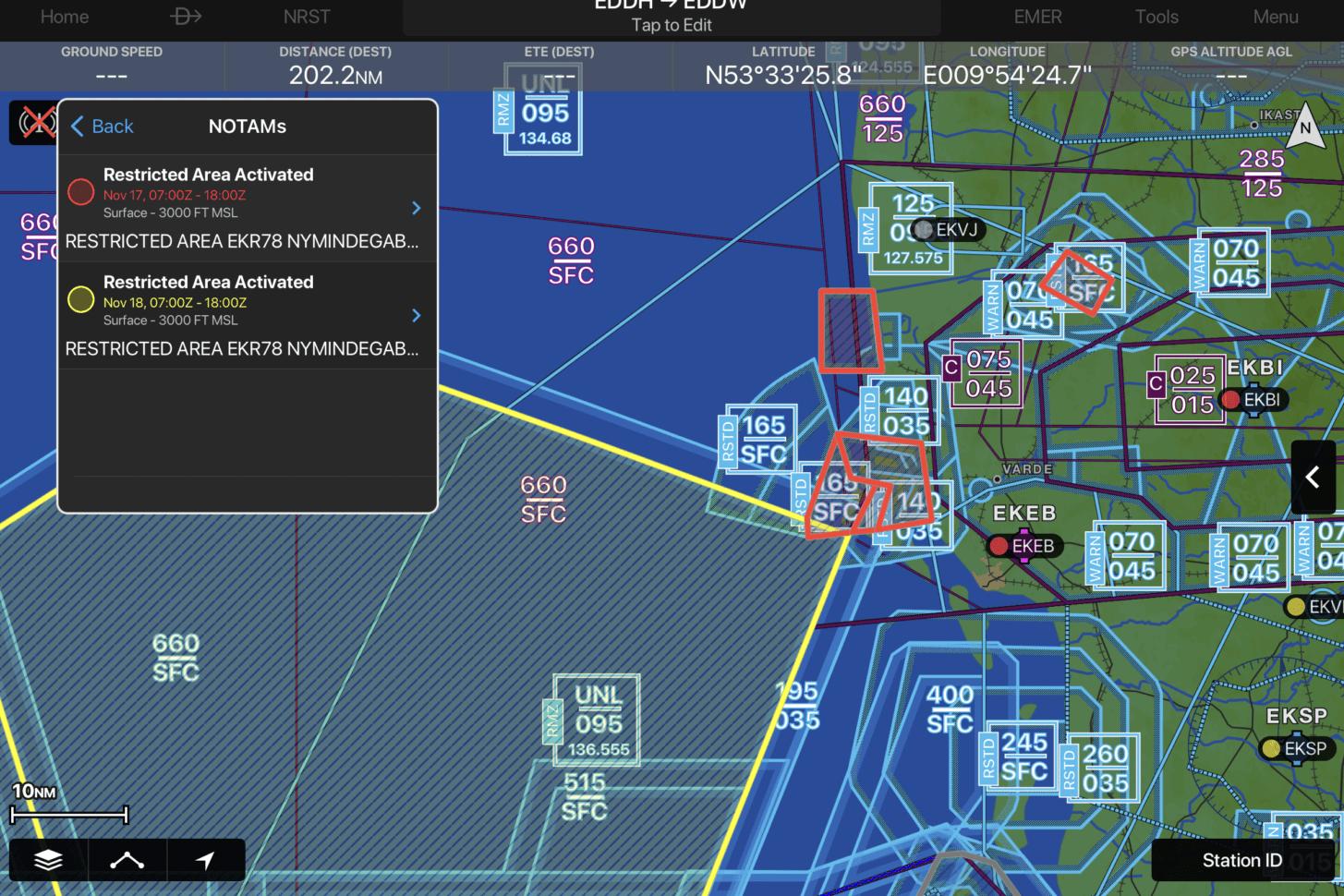 Garmin Pilot NOTAMs