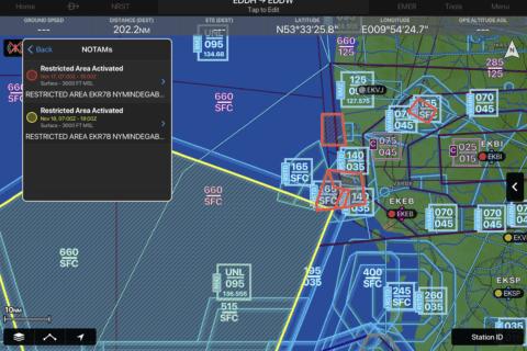 Garmin Pilot jetzt mit grafischen NOTAMs