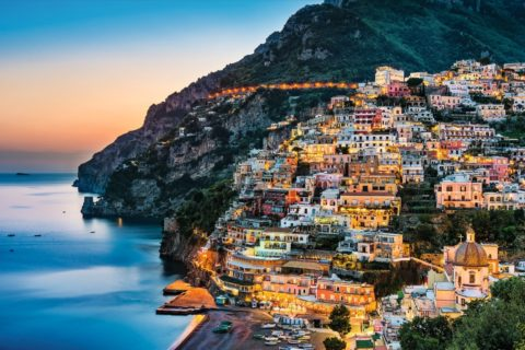 View of Positano during sunset, Amalfi Coast, Campania, Italiy
