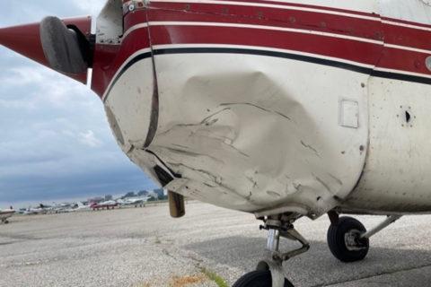 Kollision mit Drohne: Cessna 172 beschädigt